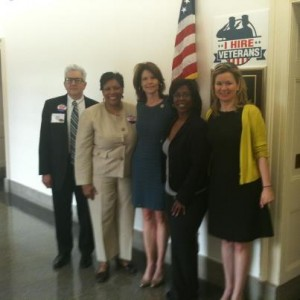 LIHEAP Action Day participants Mark Burger, CEDA; Marsha Belcher, CEDA & NFFN board chair; Congresswoman Cheri Bustos; Cynthia Thomas, ComEd; and Mary Streett, Exelon.