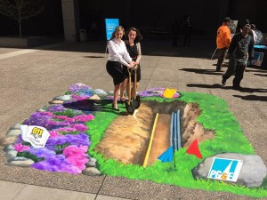 Special 3D artists create realistic chalk drawing of what it may look like when you dig in your own backyard. Photo Credit: PG&E